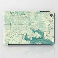 baltimore iPad Cases featuring Baltimore Map Blue Vintage by City Art Posters