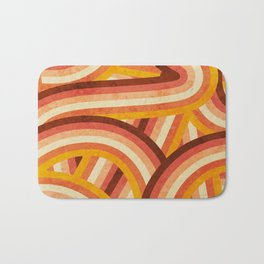 Vintage Orange 70's Style Rainbow Stripes Bath Mat