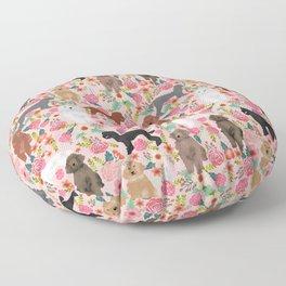 Poodle mixed coat colors brown poodle black poodle white poodle pet portrait dog art animal Floor Pillow