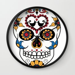 Mexican Sugar Skull Wall Clock