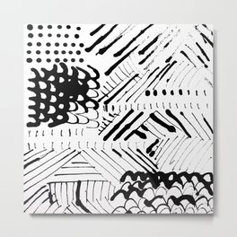 Black and White Ink Abstract Mark Making Pattern Metal Print