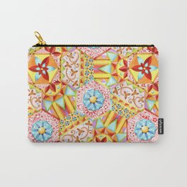 Pink Paisley Hexagons Carry-All Pouch