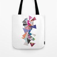 triangles Tote Bags featuring Triangles by Lydia Coventry