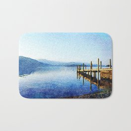 Derwentwater Shore and Dock, Lake District, UK. Watercolor Painting. Bath Mat