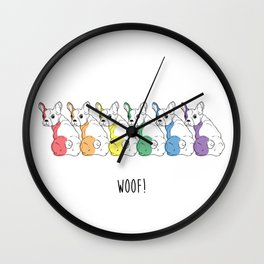 Rainbow Pups- Woof! Wall Clock