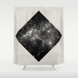 Space Diamond - Abstract, geometric space scene in black and white Shower Curtain