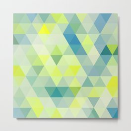 Positive Vibes Neon Geometric Print Metal Print
