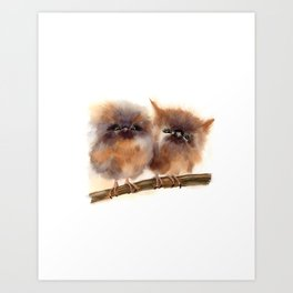 2 Babies owl Art Print