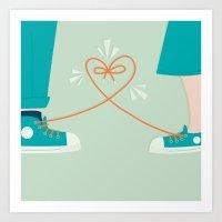 sneaker Art Prints featuring Sneaker Love by Walker Ballantyne - Hill