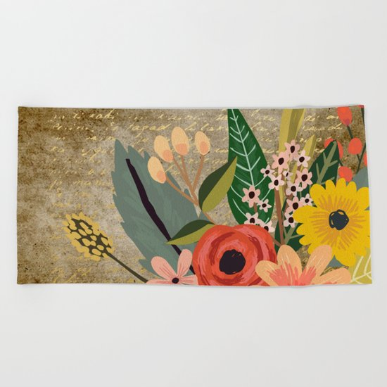 Flower bouquet letter gold #10 Beach Towel