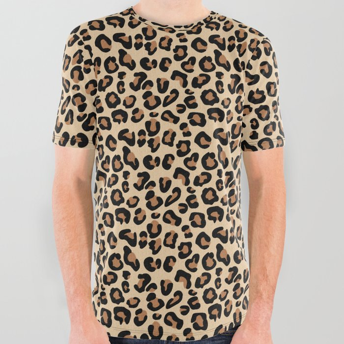 Leopard Print, Black, Brown, Rust and Tan All Over Graphic Tee