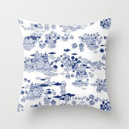 FLOOD IN ANTIQUE CHINESE PORCELAIN Throw Pillow