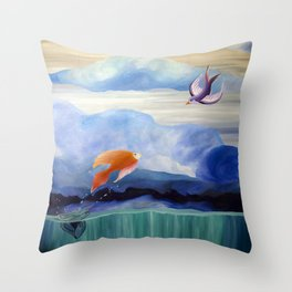 a fish may love a bird but where would they live..... Throw Pillow