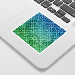 Mermaid Blue & Green Glitter Ombre Scales Sticker
