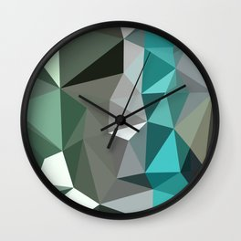 Persian Green Abstract Low Polygon Background Wall Clock