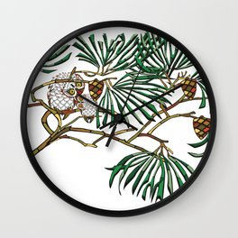 Owls on pine branches Wall Clock