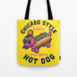 Da Chicago Dog With Text Tote Bag