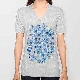 Blue Chino Flowers Unisex V-Neck