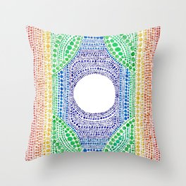 Rainbow Dot Mandala Throw Pillow