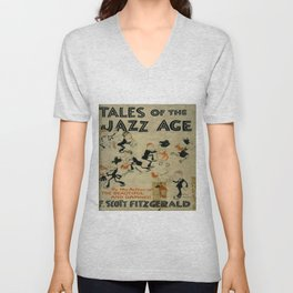 Tales of the Jazz Age vintage book cover - Fitzgerald Unisex V-Neck