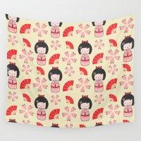 mini Wall Tapestries featuring Mini Geisha by Vickn