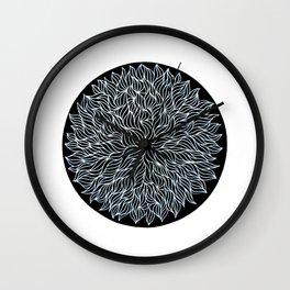 White on black seaweed mandala Wall Clock