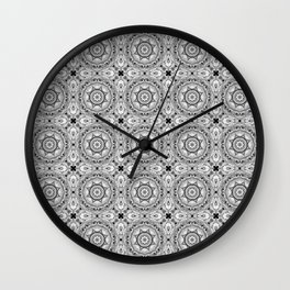 Black and white star tiles Wall Clock