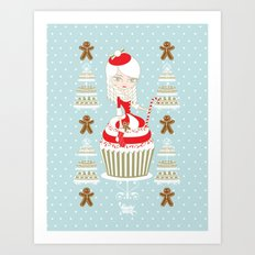 Merry Lady Christmas Cupcake Art Print