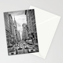 NEW YORK CITY 5th Avenue Traffic   Monochrome Stationery Cards