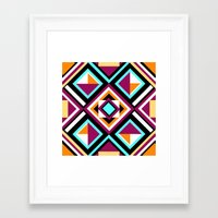 quilt Framed Art Prints featuring Quilt Pattern by k_c_s