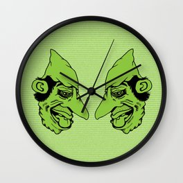 Sinister Little Green Man Wearing a Cloth Napkin as a Hat Wall Clock