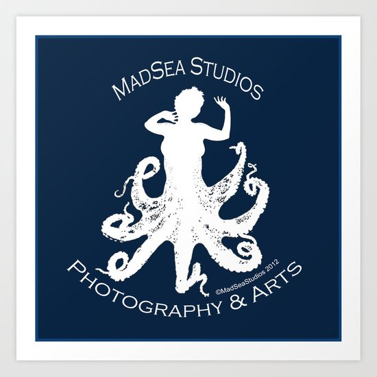 MadSea Nymph, white on blue Art Print