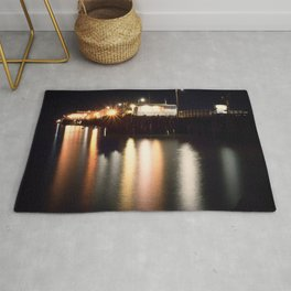 Night Light Harford Pier Port San Luis Avila Beach Rug