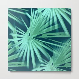 Aqua on Teal Tropical Vibes Beach Palmtree Vector Metal Print