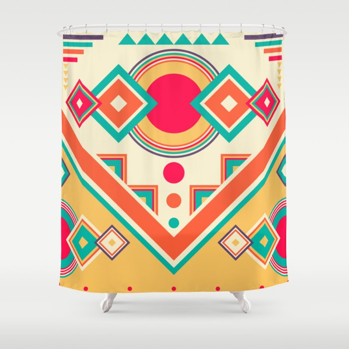 Colorful Ethnic Bohemian Pattern Shower Curtain