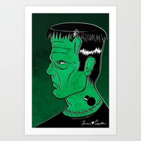 frankenstein Art Prints featuring Frankenstein by JoanaRosaC