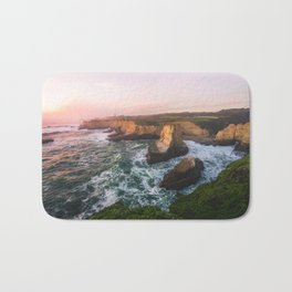 Golden California Coastline - Santa Cruz, California Bath Mat