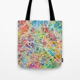 Paris France Street Map Tote Bag