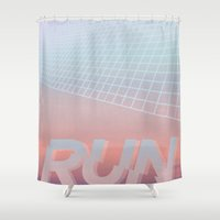 run Shower Curtains featuring RUN by Ricca Design Co.