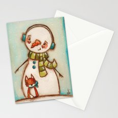 Fox and Friend - Snowman and Fox in the snow Stationery Cards