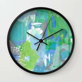 Green and Blue Abstract Art, Turquoise Gray Blue White Painting, Green Artwork Wall Clock