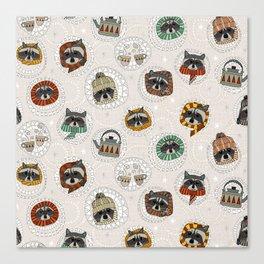 hygge raccoons Canvas Print