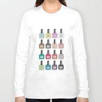 nail polish Long Sleeve T-shirts featuring Nail Polish-holic by uzualsunday
