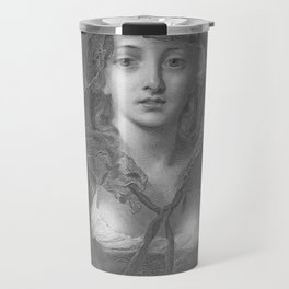Simplicity c. 1880 Engraved Art Print Beautiful Woman Portrait Travel Mug