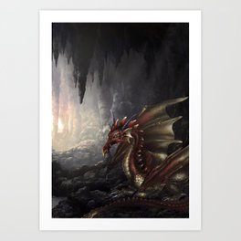 Akai Dragon Art Print