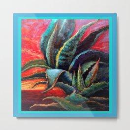 Southwest Desert Agave Cacti Sunrise Metal Print