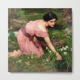 Spring Spreads One Green Lap of Flowers by John William Waterhouse Metal Print