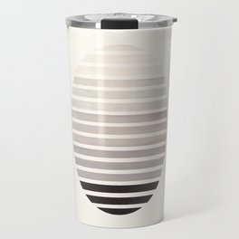 Grey Mid Century Modern Minimalist Scandinavian Colorful Stripes Geometric Pattern Round Circle Fram Travel Mug