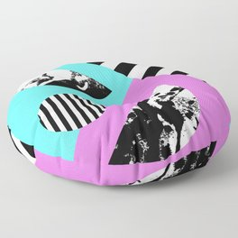 Stripes And Splats 2 - Random, Crazy, Abstract, Geometric, Black And White, Cyan, Pink Artwork Floor Pillow