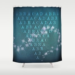 Abracadabra Reversed Pyramid in Turquoise Shower Curtain